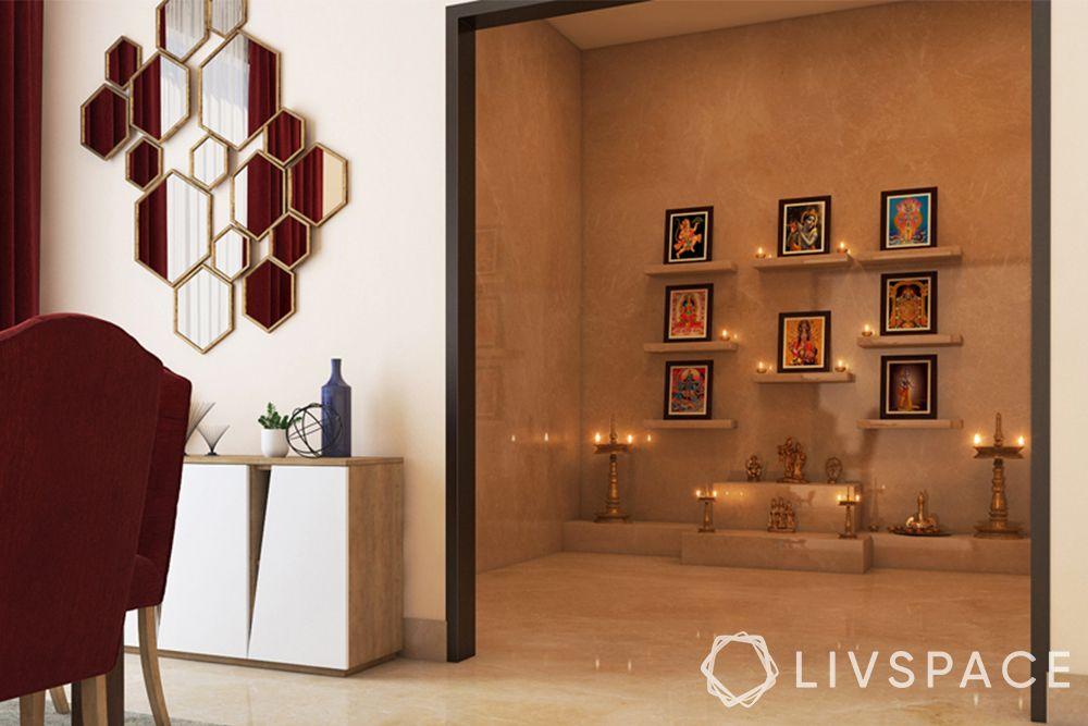 devghar design-mandir room-diyas