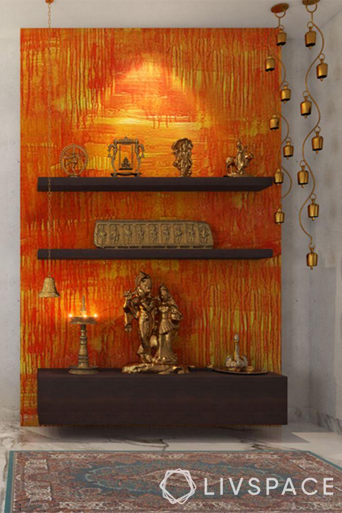 mandir unit-burnt orange background-hanging bells