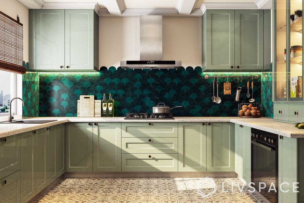 goa villas-green kitchen-goa kitchen
