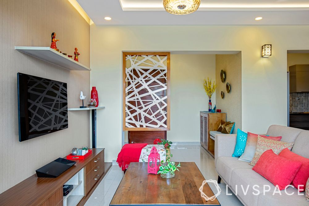 interior decoration for flats in bangalore-partition design-coral cushions