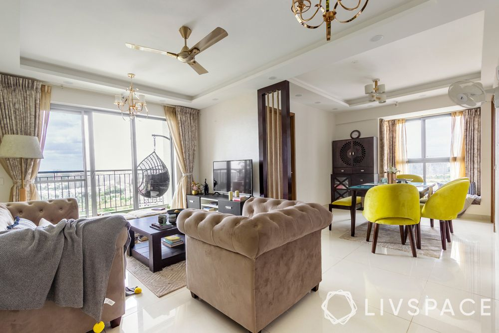 interior decoration for flats in bangalore-yellow dining chairs-partition design