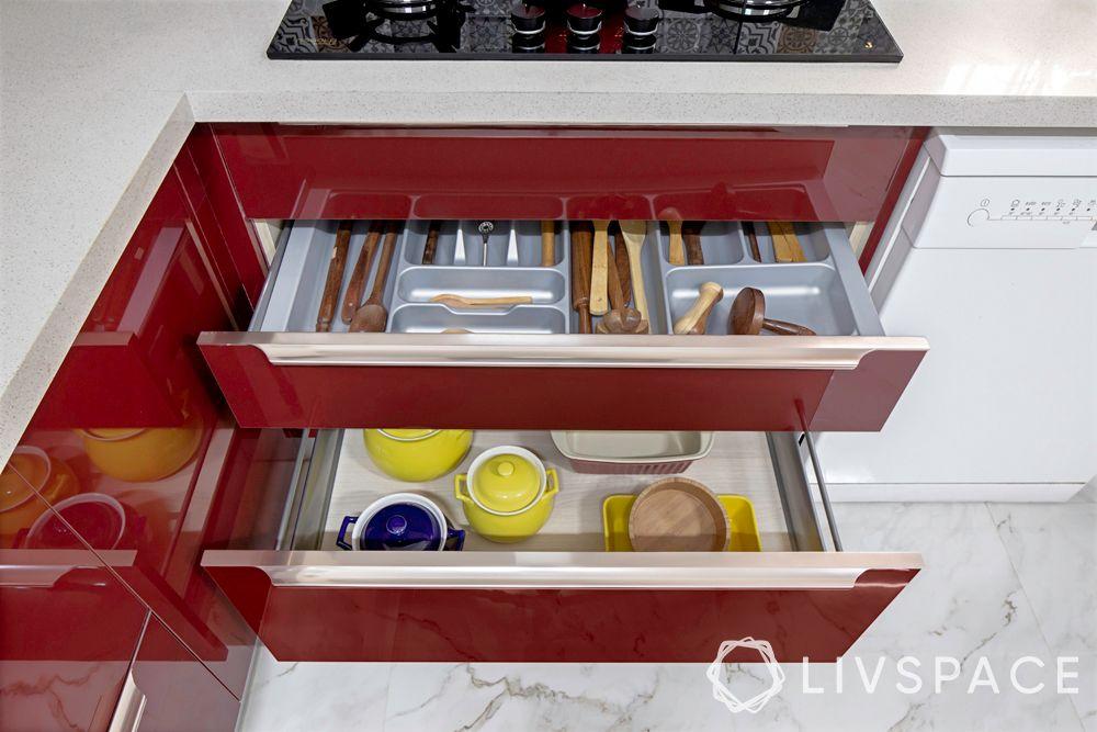 interior decoration for flats in bangalore-red kitchen-kitchen accessories