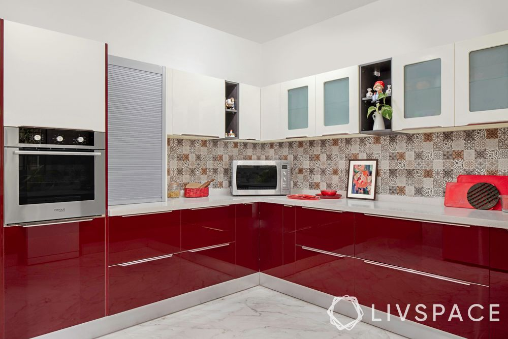 interior decoration for flats in bangalore-red kitchen