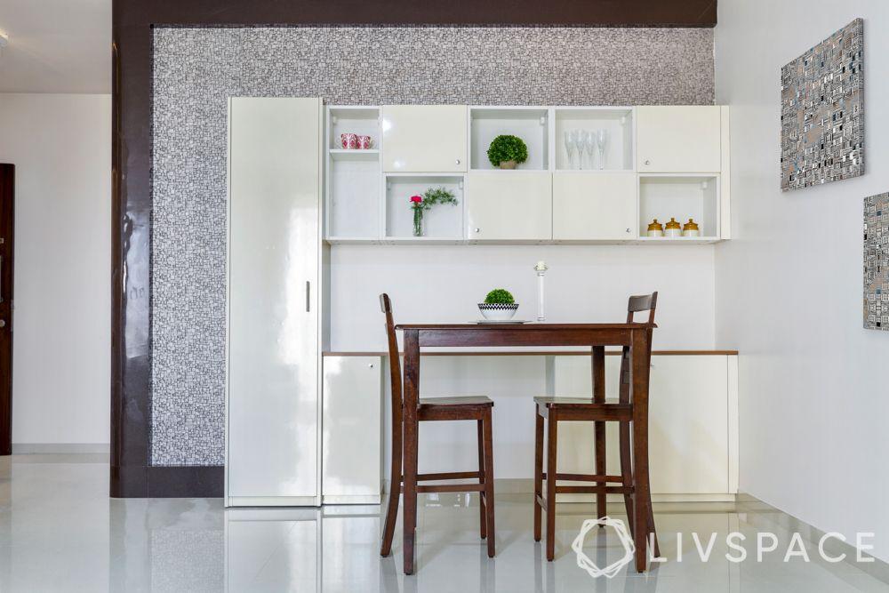 home maintenance tips-crockery unit-laminate-open and closed shelves
