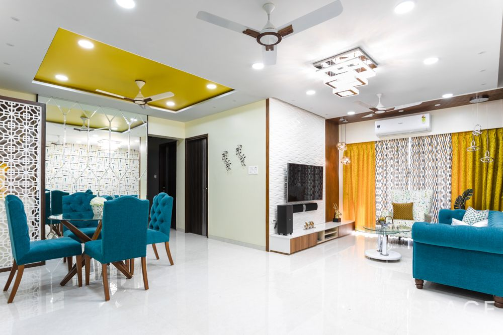 house maintenance-clutter free-living room-dining room-blue sofa