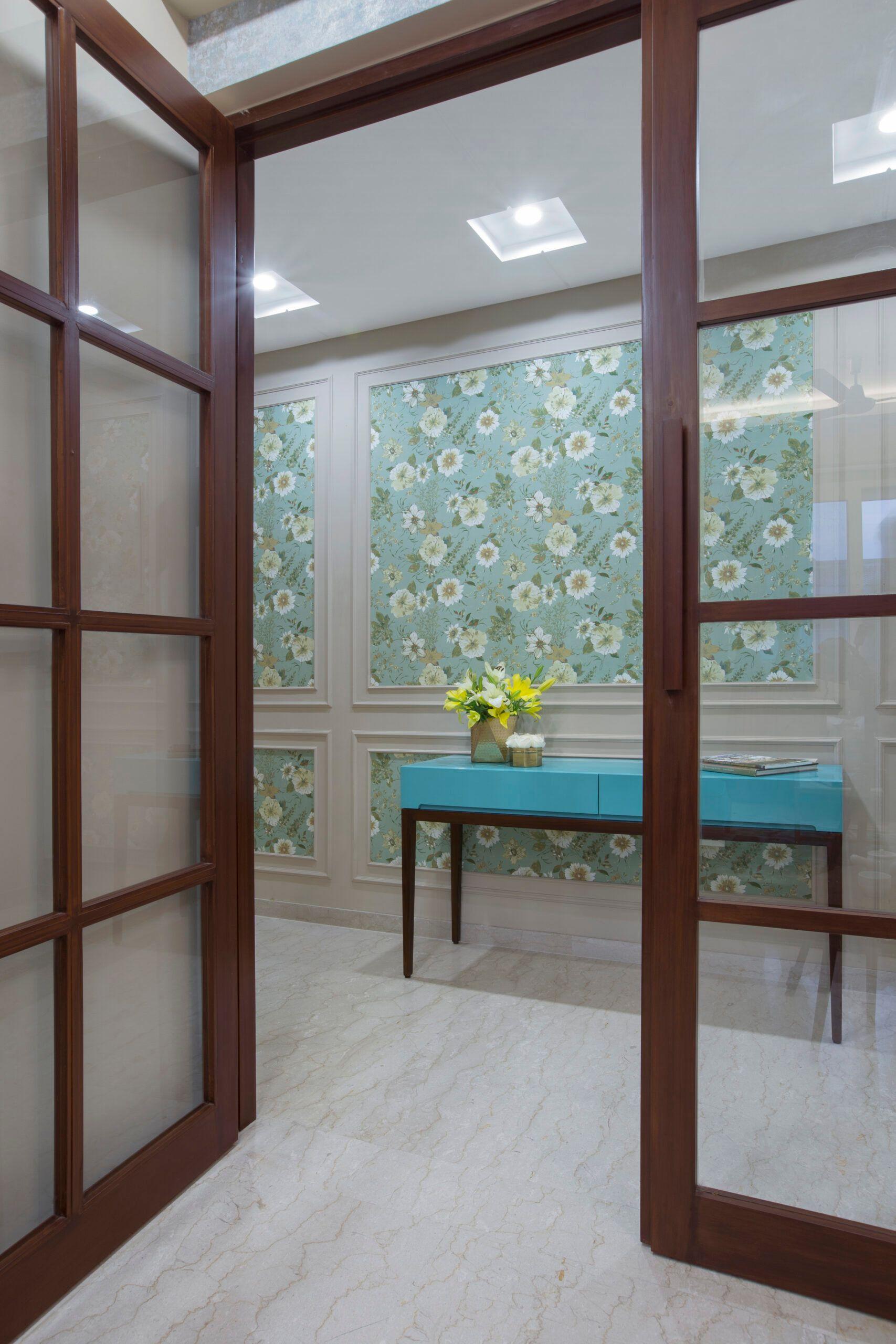 console tables-blue table-blue floral wallpaper