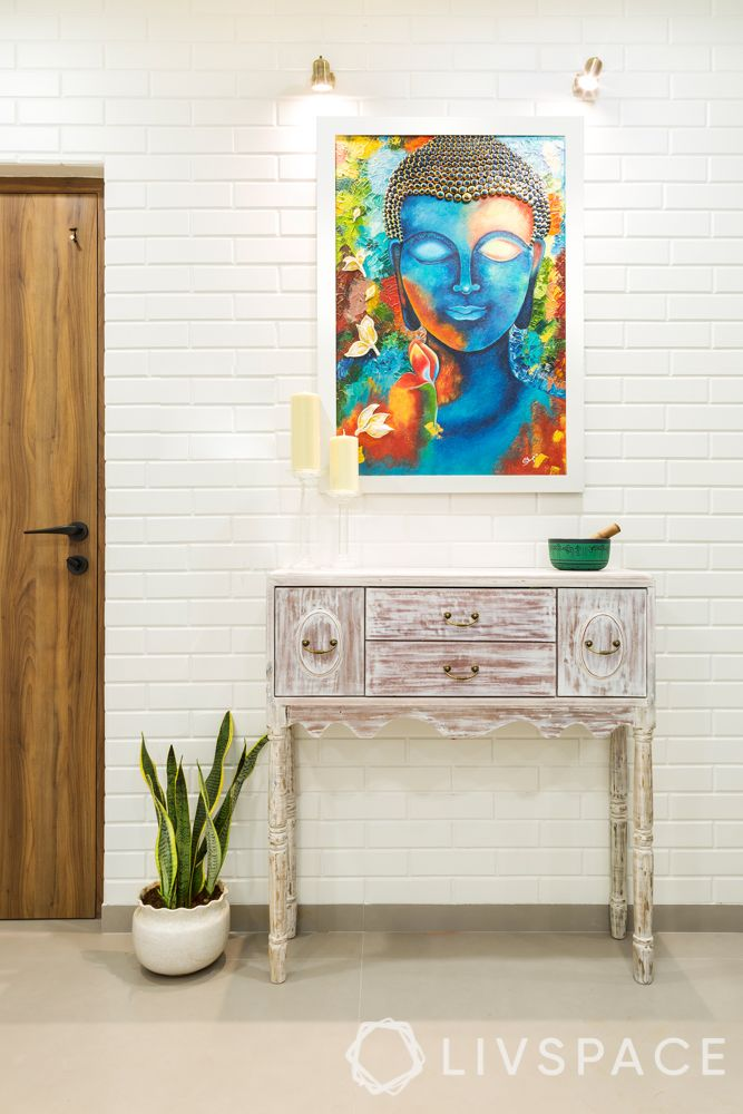 console table designs-white table-white brick wall