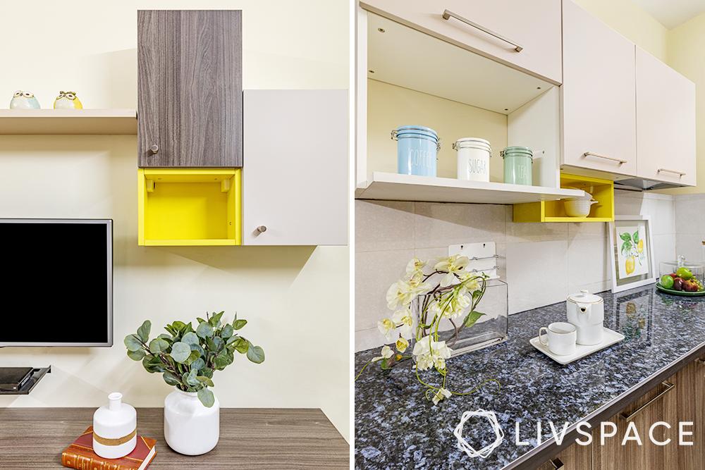 PKW: 2 bhk home interior design low budget-open storage