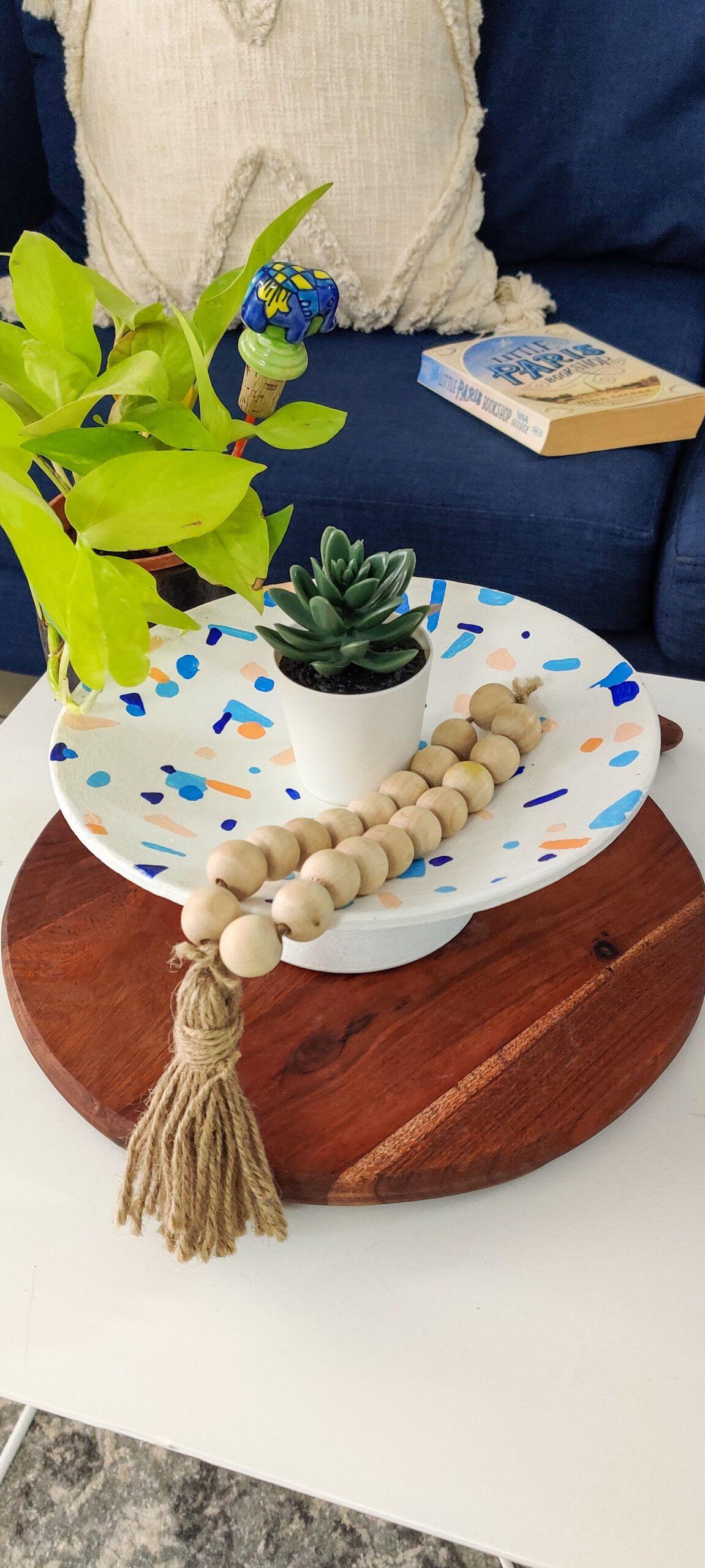 diy home decor-earthenware-terrazzo design-after image