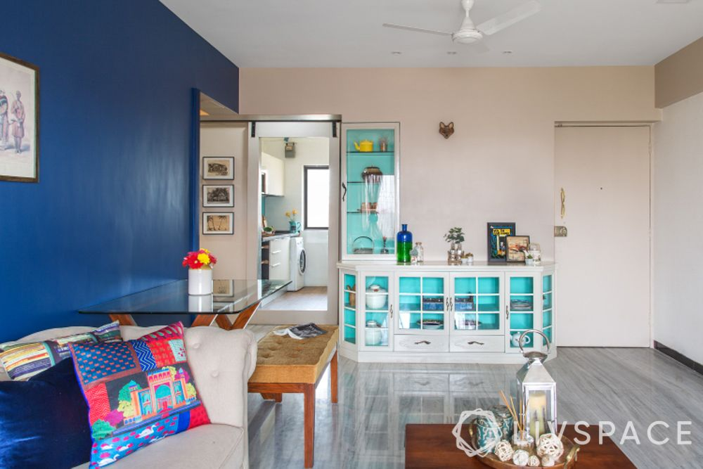 low budget house-crockery unit-white and turquoise
