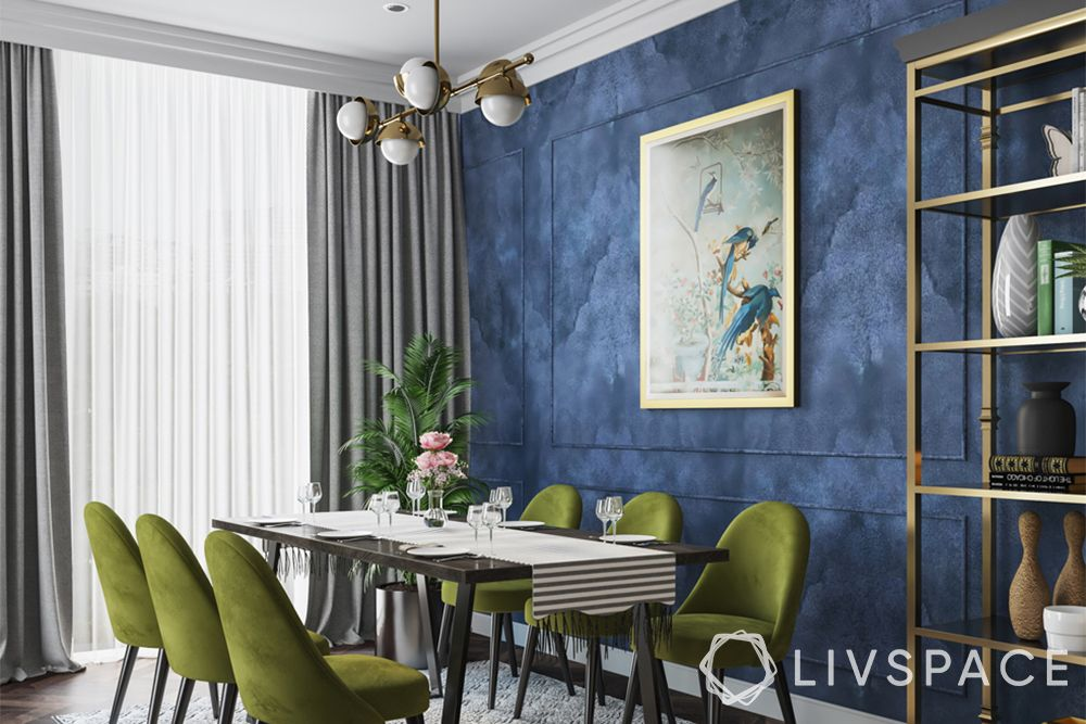 wall painting techniques-sponging-blue wall