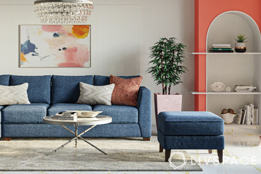 wall painting techniques-strie-blue sofa