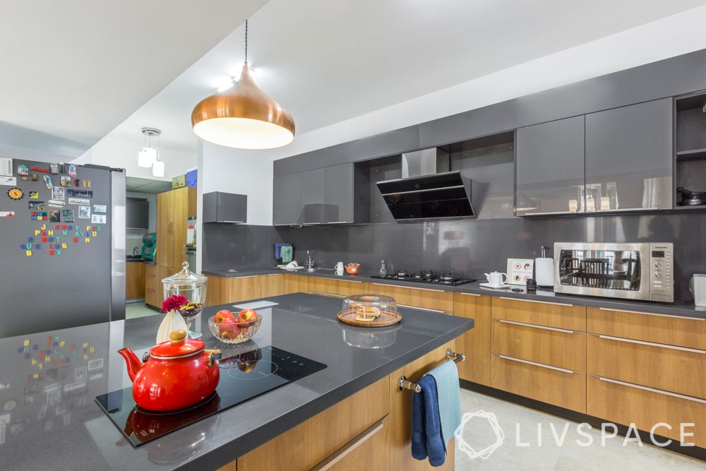 grey kitchen-kitchen island