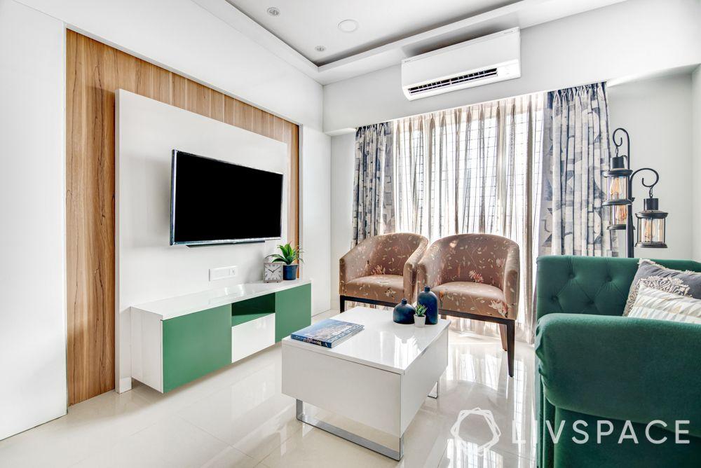 modern tv unit design-three panels-glass-laminate