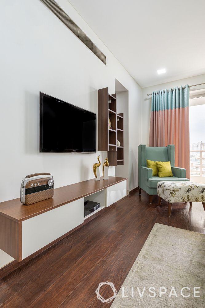 modern TV unit design-unit with floating shelves