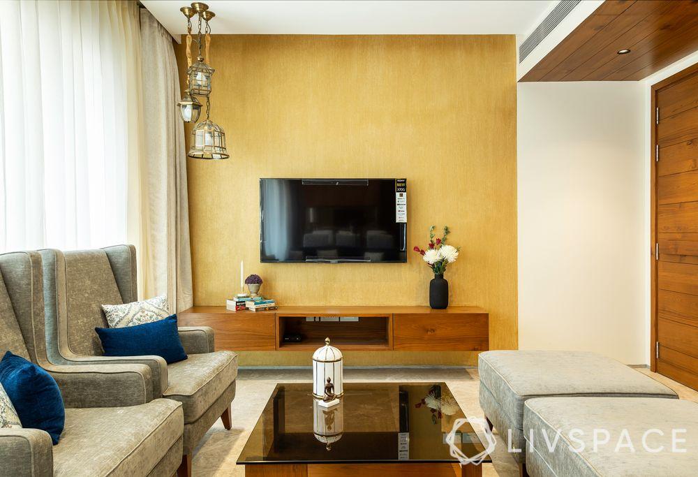 TV unit-accent wall