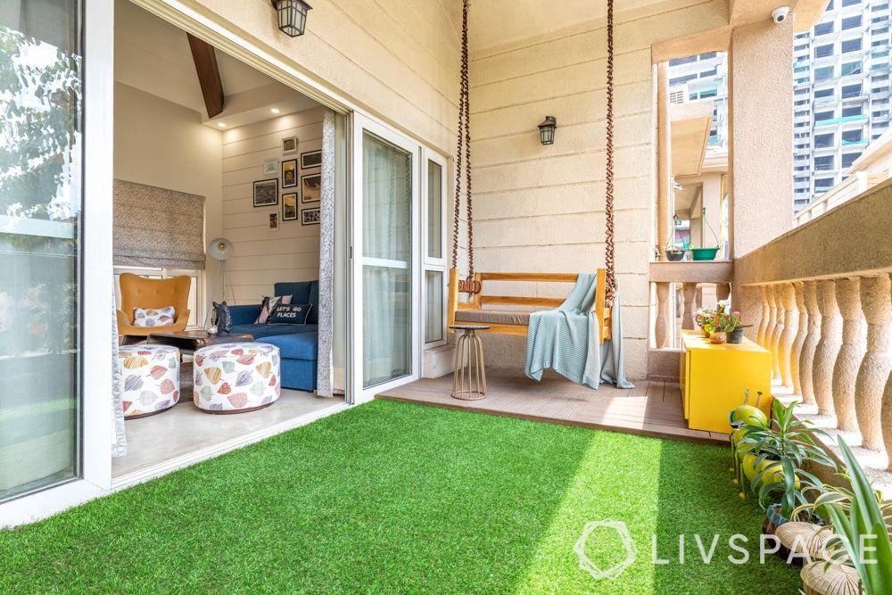 balcony swing-swing for kids-artificial turfing