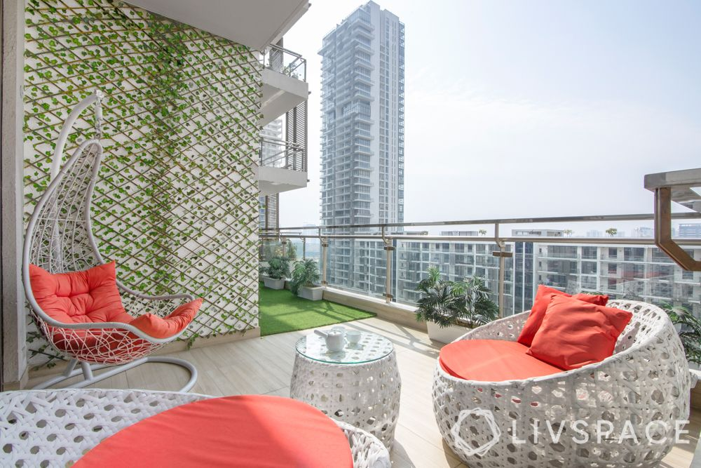 balcony swing-nestled swing-vertical garden