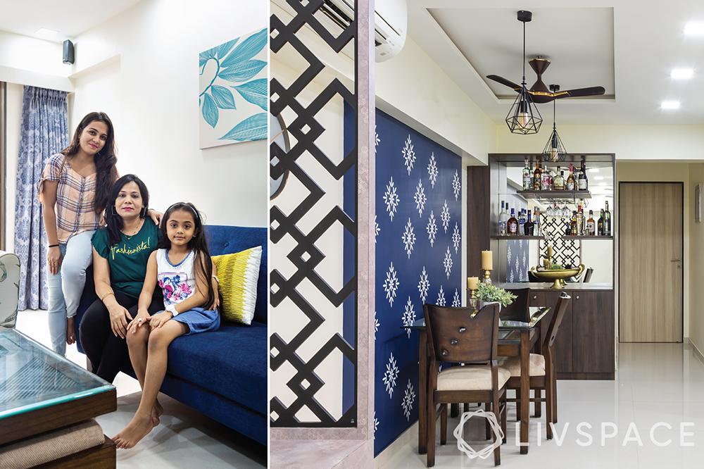 interiors designers in Mumbai-Livspace clients-dining room-jaali-stencil wall-bar unit