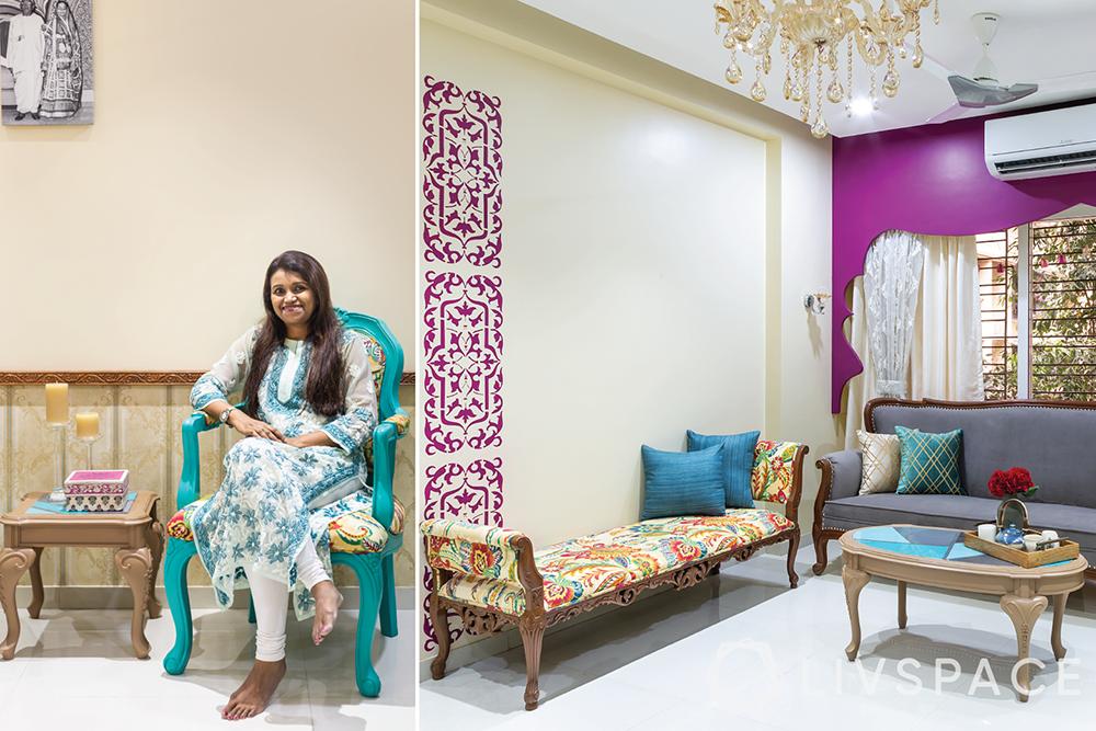 interiors designers in Mumbai-Livspace client-Indian living room-wall decor-seating