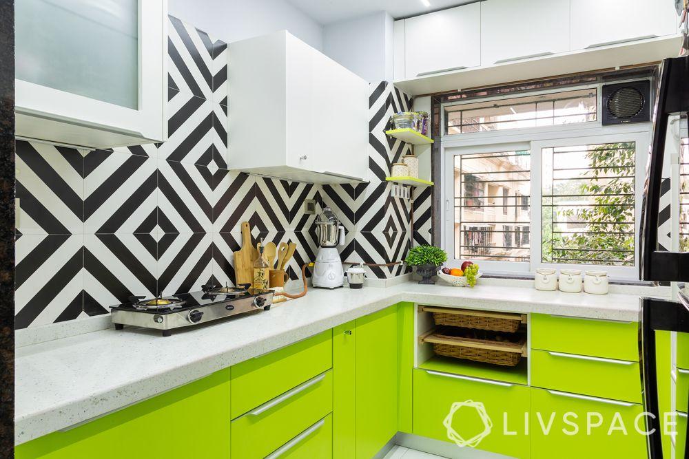 top interior design firms in Mumbai-kitchen-lime green-black and white backsplash