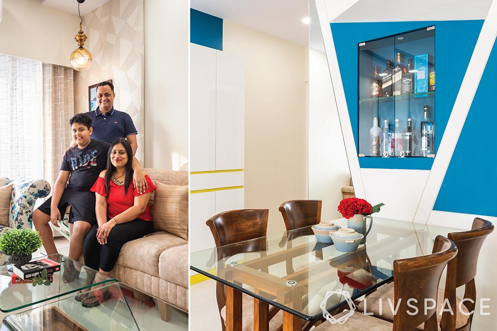 interiors designers in Mumbai-Livspace clients-dining room-blue walls-bar unit