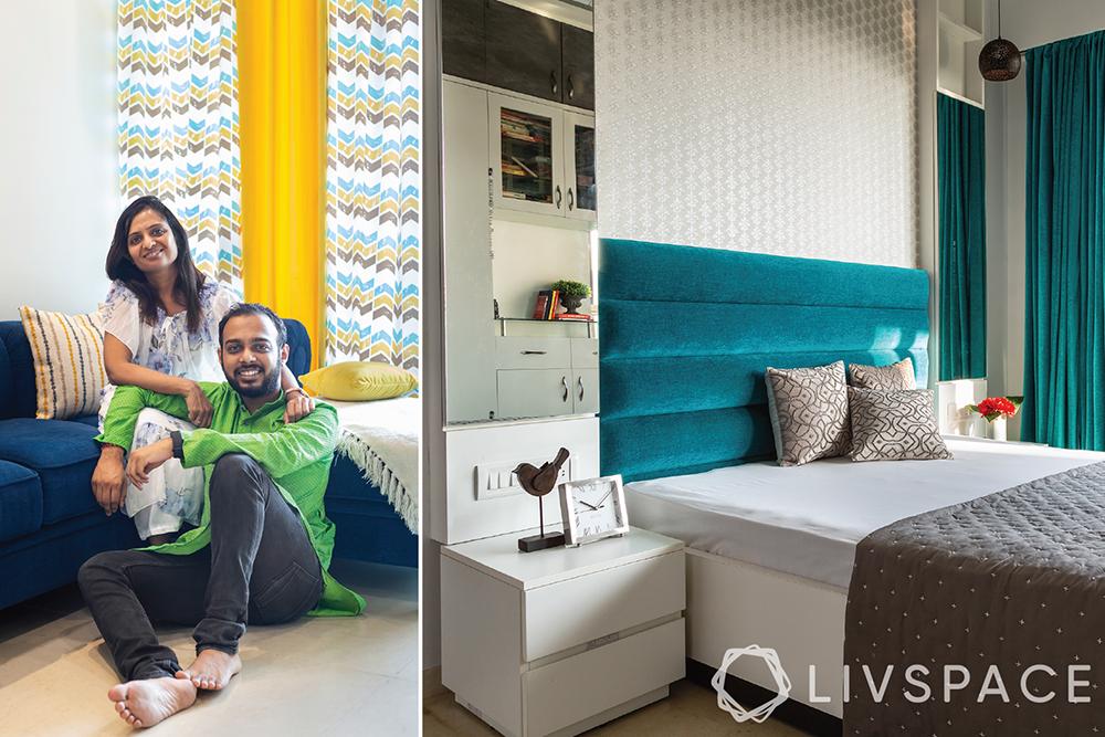 interiors designers in Mumbai-Livspace clients-bedroom-teal headboard-hydraulic bed-dresser cum storage unit