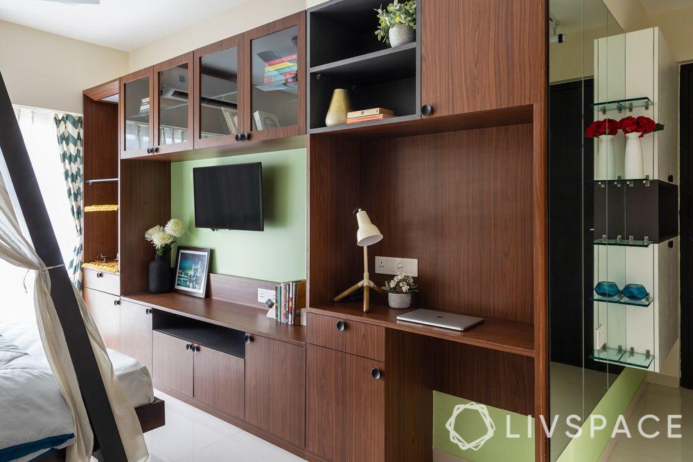 best interior design company in Mumbai-multifunctional unit-TV unit-bookshelf-study table