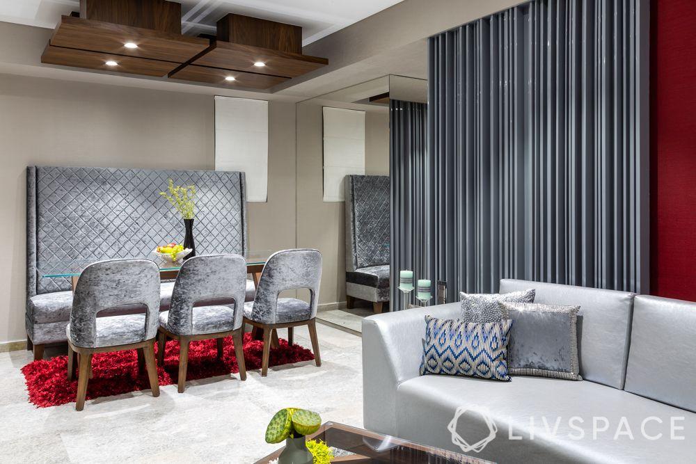 interiors designers in Mumbai-luxurious design-grey theme-wallpaper-sofa-dining