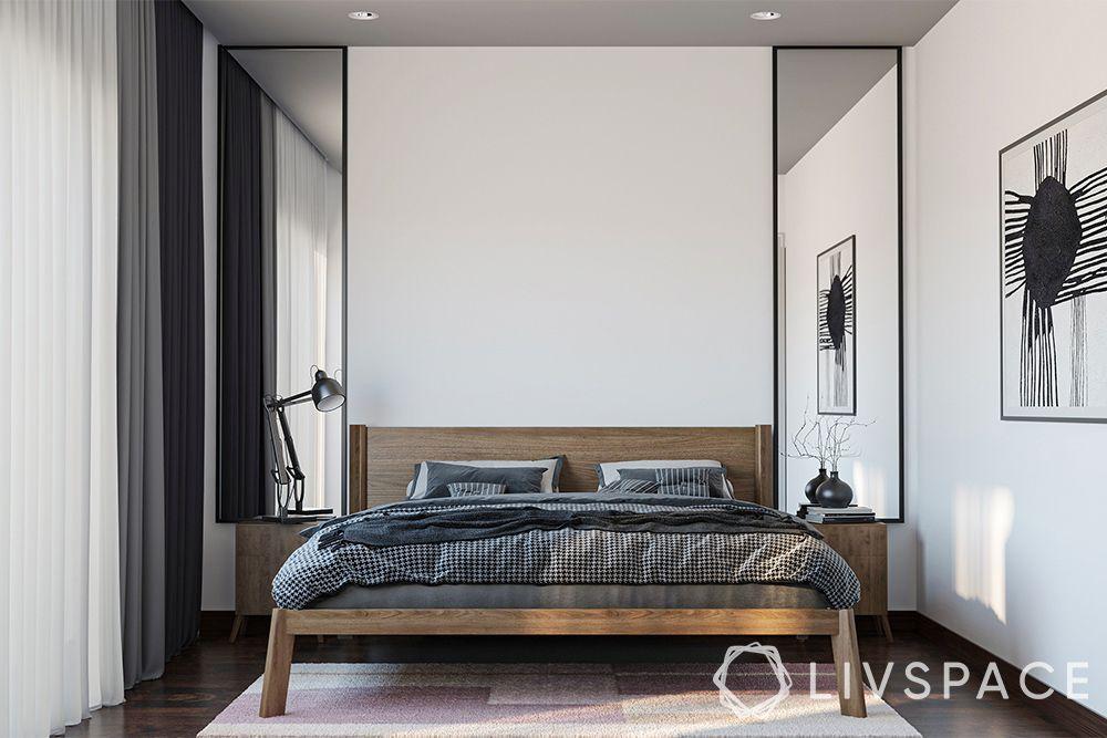 minimalist house-bedroom-bed-mirrors