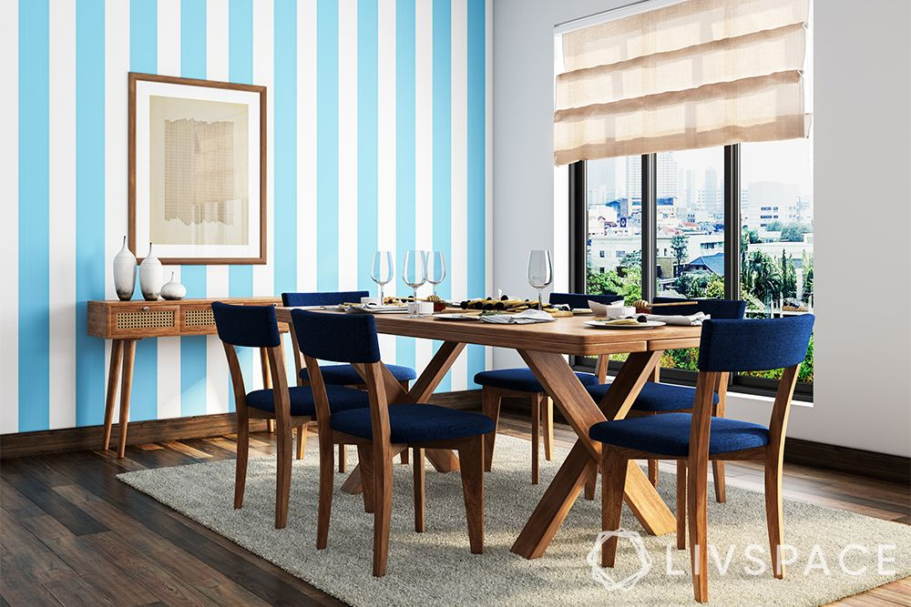 minimalist house-Indian minimalism-blue wall-dining table-wallpaper