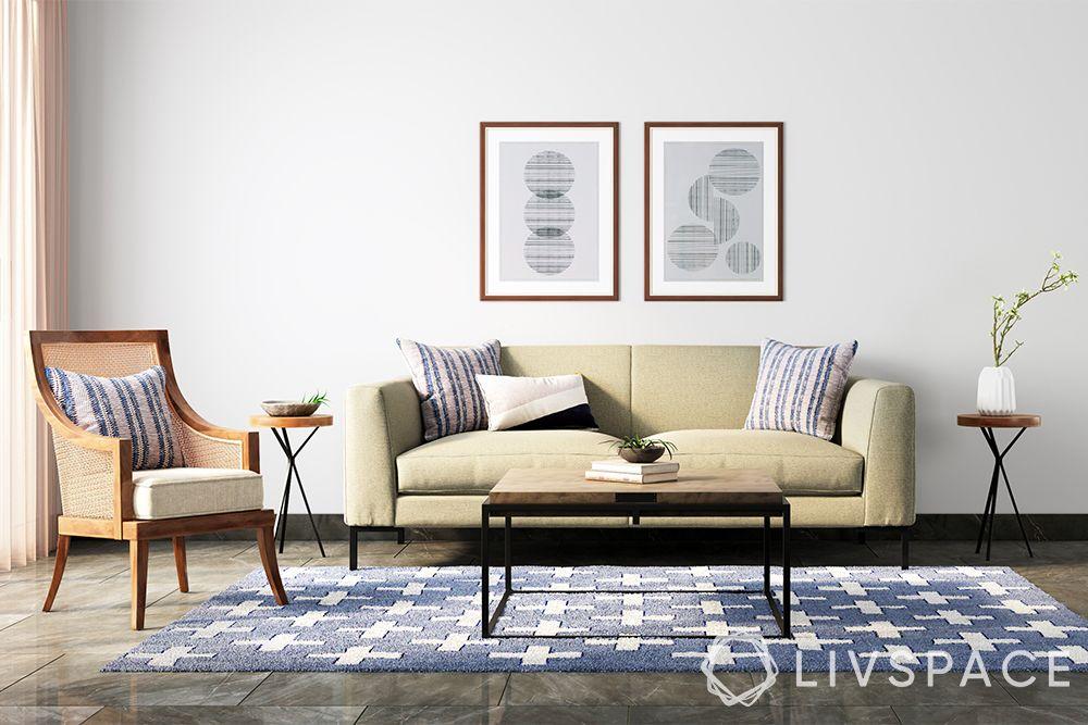 minimalist house-minimal living room-beige sofa-white walls-carpet