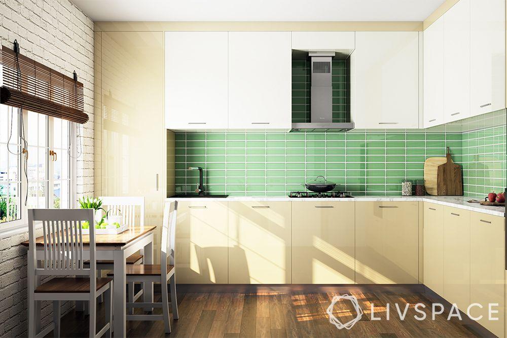 minimalist house interior-minimal kitchen-green backsplash