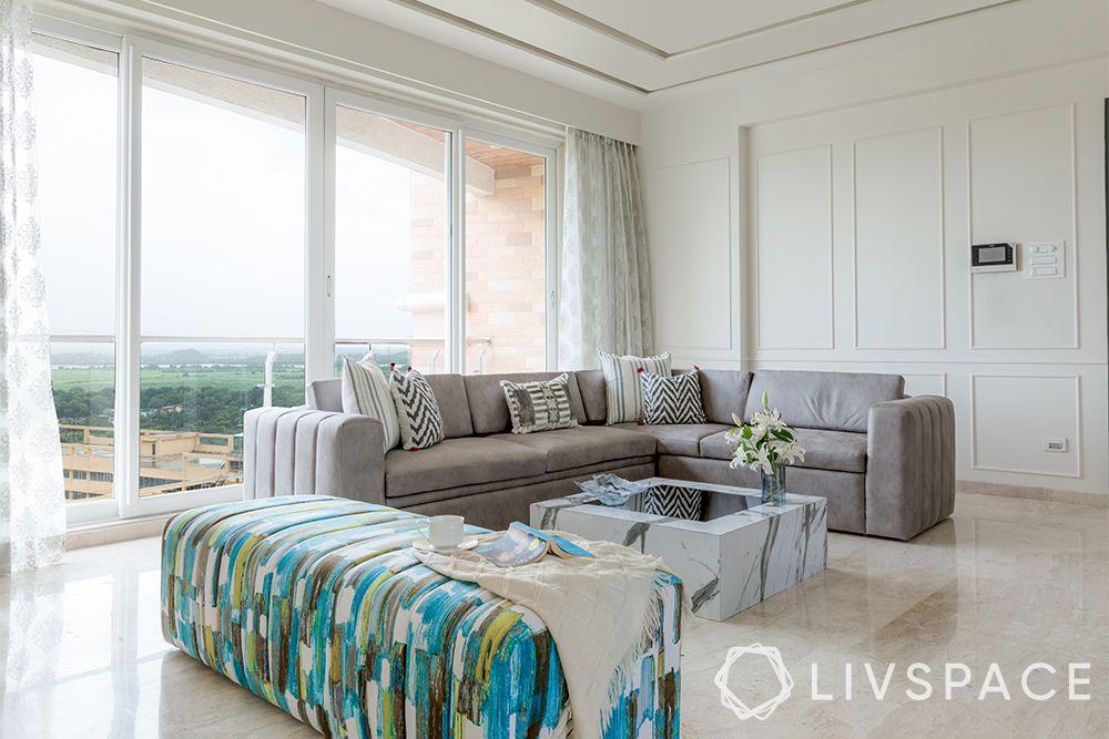 minimalist house-minimal living room-abstract design seating-windows