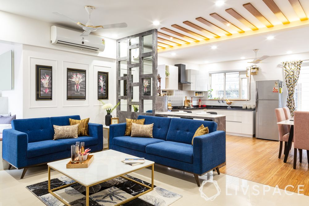 livspace pune- living room-blue couch