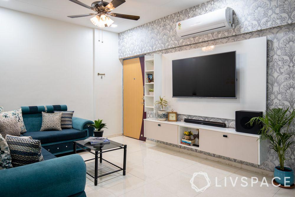 livspace pune-tv unit design-living room design