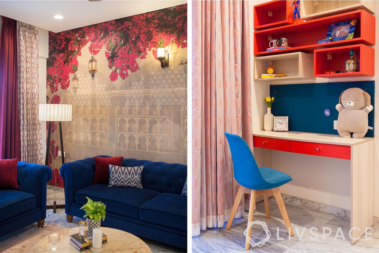 wallpaper design-floating shelves