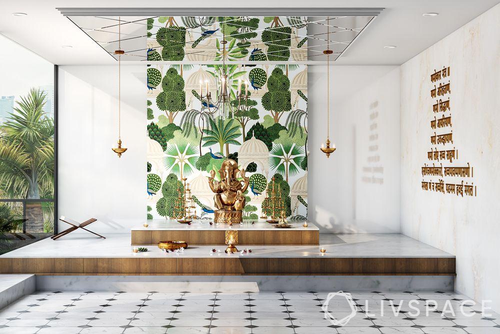 pooja ghar design-green floral background