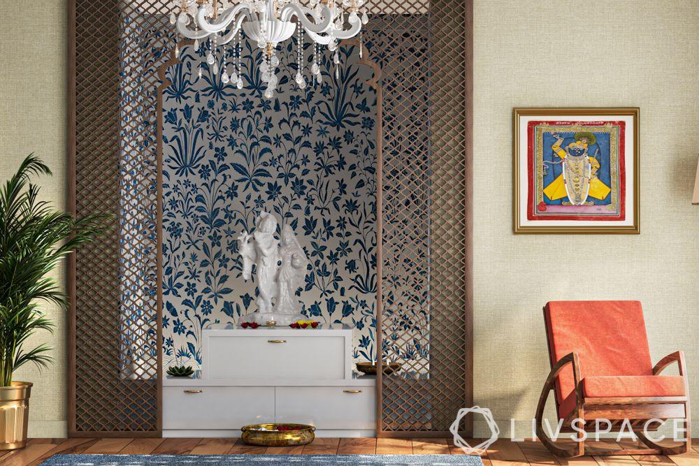 pooja ghar design-white mandir with a jaali entrance