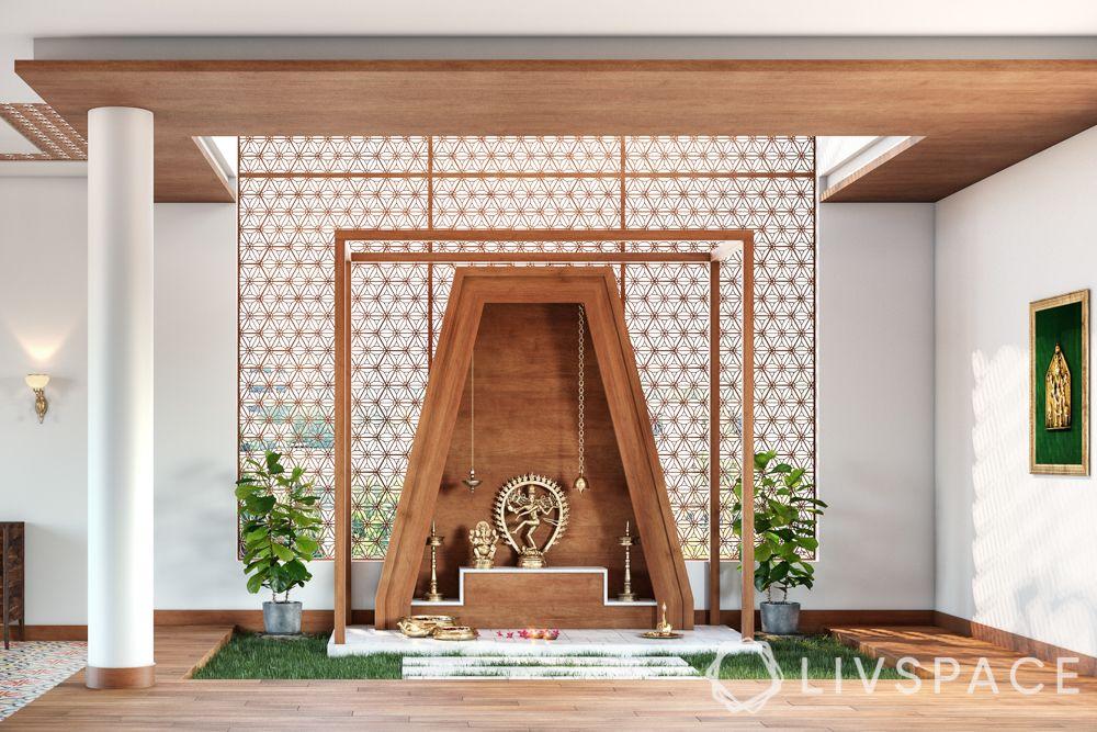 pooja ghar design-wooden mandir unit