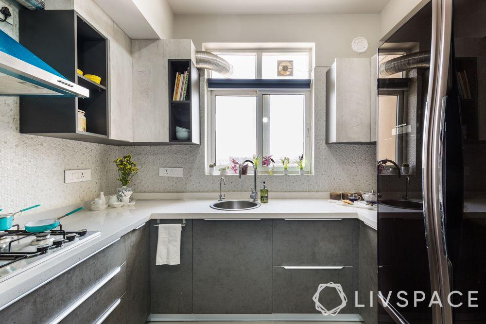modular kitchen colour combination-Scandinavian kitchen-monochromes-grey kitchen