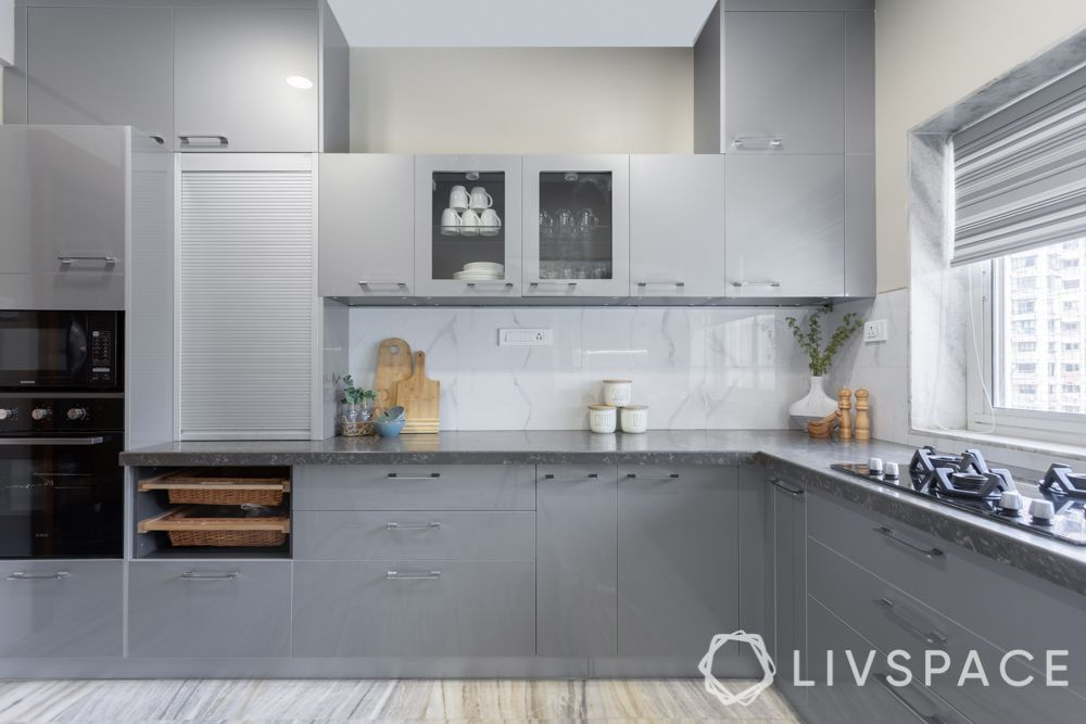 modular kitchen colour combination-grey kitchen