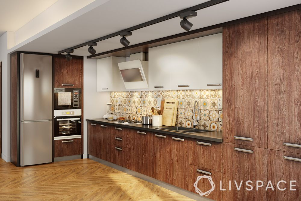 modular kitchen colour combination-wooden kitchen