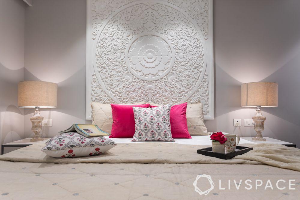 interior wall design bedroom-accent wall-POP design-wall trims