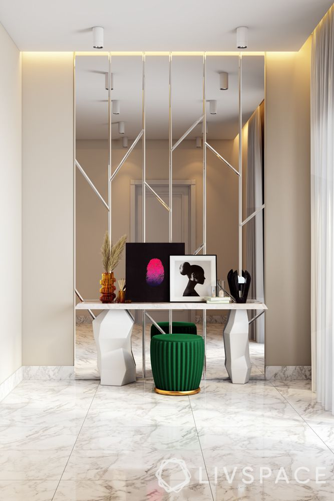 interior wall design-accent wall-mirrored wall-foyer