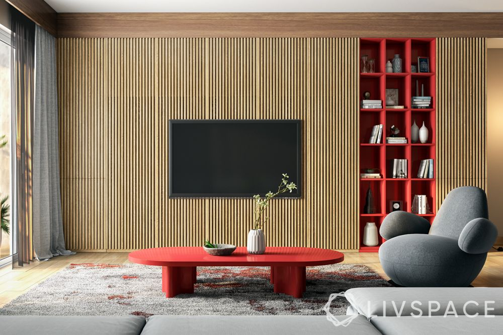 wall design in hall-accent wall-fluted wall-TV unit