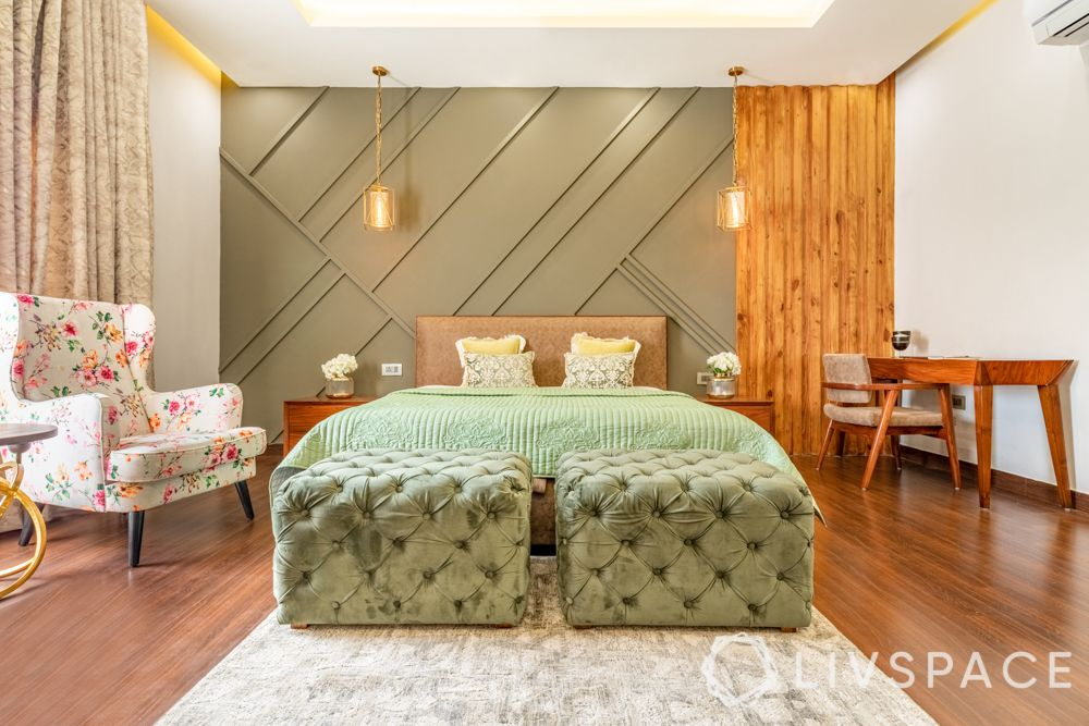 interior wall design-accent wall-pastel green wall-wood moulding-duco paint-timber wall