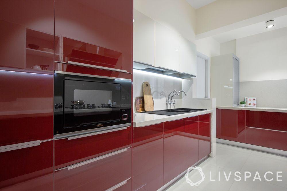 clean kitchen-red kitchen-glossy finish