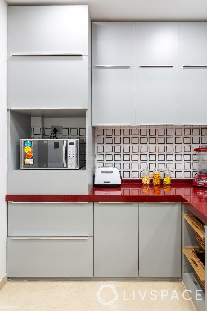 clean kitchen-red kitchen counter-kitchen with loft