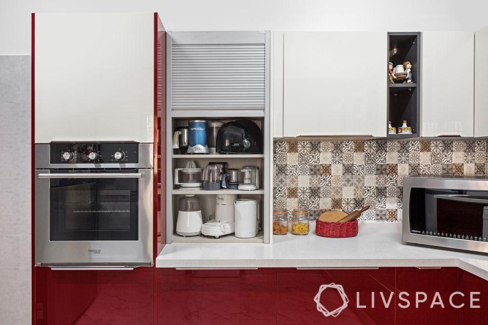 kitchen appliances-red kitchen-roller shutter unit